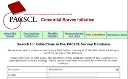 image of survey database homepage